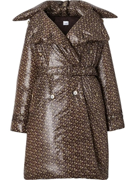 monogram-print puffer trench coat