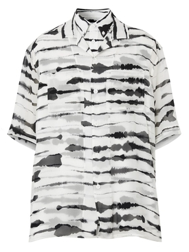 short-sleeve silk overlay watercolor print shirt