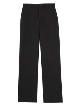 Cut Out Back Wool Wide Leg Trousers