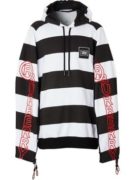 Zip Detail Logo print cotton hoodie