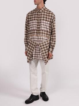 Zipped hem contrast check print shirt