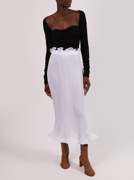 White Ruffled Midi Skirt