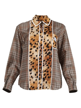 Check and leopard print shirt