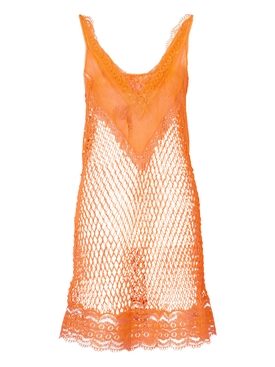 Fishnet and Lace Mini Dress, Amber Orange