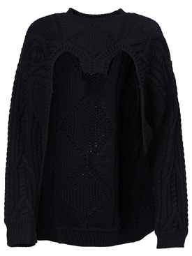 Open Front Cable Knit Jumper, Ink Blue