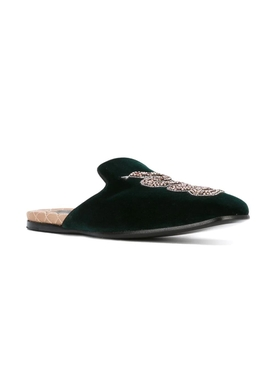 Green Kingsnake Embroidered Slippers