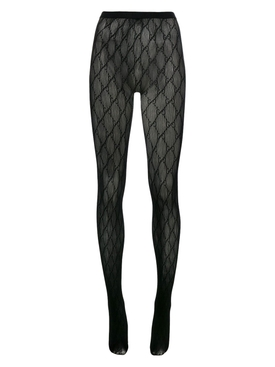 Black interlocking logo tights