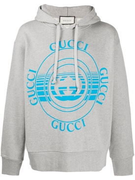 Grey And Blue Heavy Cotton Hoodie