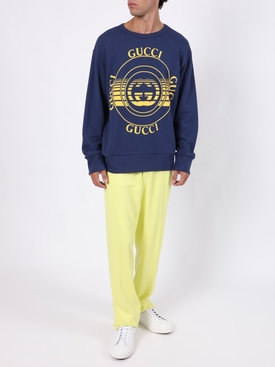 Blue And Yellow Heavy Logo Sweatshirt