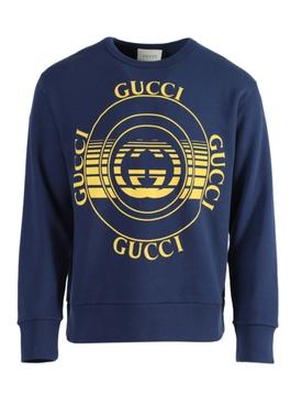 Blue And Yellow Heavy Logo Sweatshirt