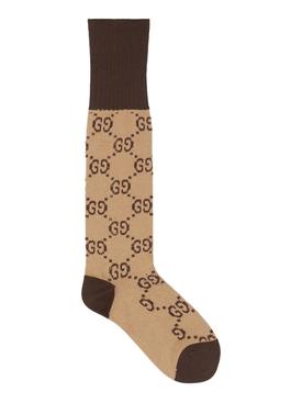 GG Logo Pattern Socks Brown