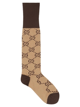 Brown GG logo print socks