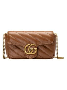 GG Marmont matelassé super mini bag Brown