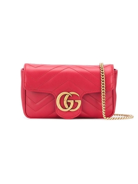 GG Marmont matelassé leather super mini bag RED