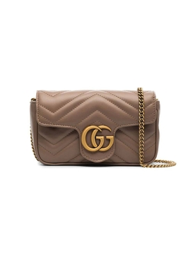 GG Marmont matelassé leather super mini bag BROWN
