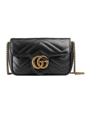 GG Marmont matelassé leather super mini bag BLACK