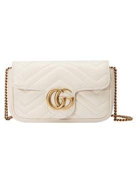 GG Marmont Matelassé Super Mini Bag Mystic White