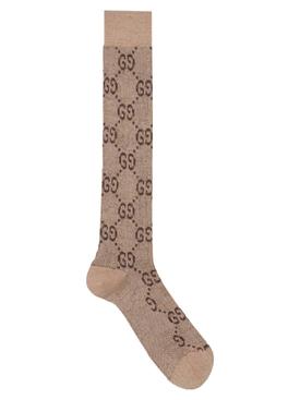 Lamé GG Logo Socks Shell Dark Brown