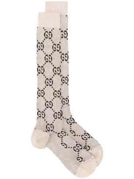 Lamé GG Logo Socks Ivory and Black
