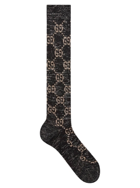 Lurex GG logo socks BLACK LIGHT GREY