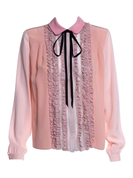 Pink Silk Ruffled Blouse
