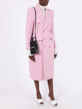 Pink and white plaid double-breasted coat