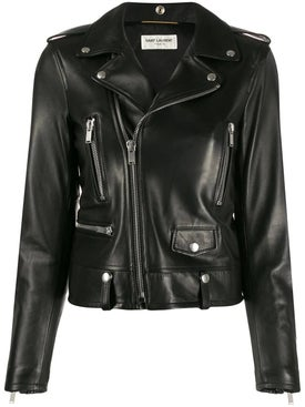 Saint Laurent - Black Leather Biker Jacket - Women
