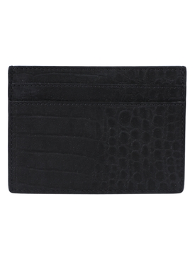 Black and silver croc-embossed card holder