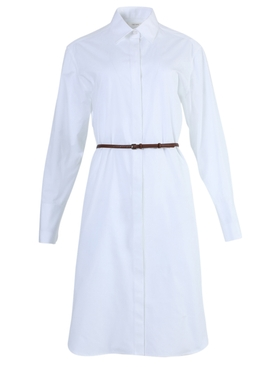Sonia belted shirt-dress white