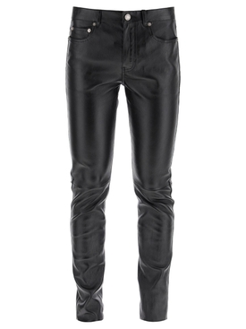 SIGNATURE LOW WAISTED SKINNY LEATHER JEANS BLACK