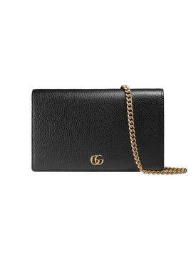 GG Marmont Leather Mini Chain Bag, Black