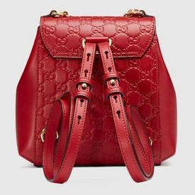 Red Leather Padlock Backpack
