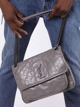 Grey Niki Medium Shoulder Bag