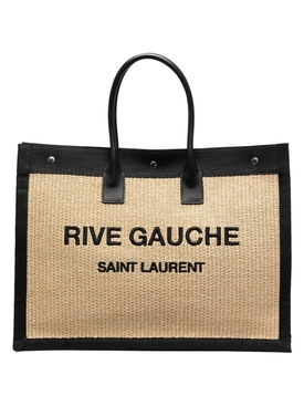 NOE CABAS RAFFIA-STRAW AND LEATHER TOTE NATURAL