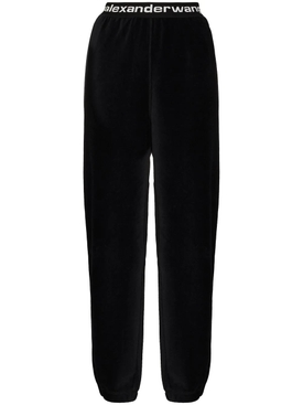 Stretch corduroy pants, black
