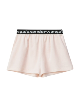 Light Pink Corduroy Logo Shorts