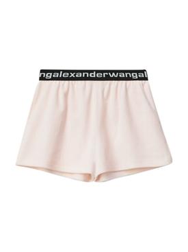 Light Pink Corduroy Logo Shorts