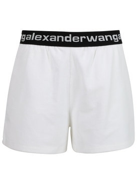 Stretch Corduroy Logo Shorts, Bright White