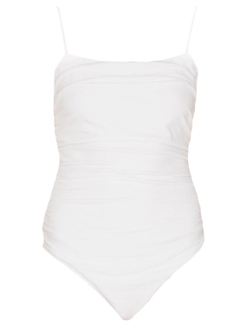 White Ruched Jersey Bodysuit