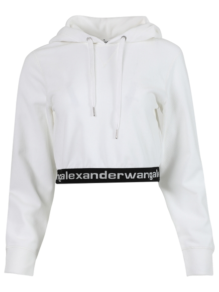Alexander Wang T Cottons Stretch Corduroy Cropped Hoodie, Bright White
