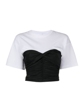 Ruched bodycon shirt with integrated t-shirt