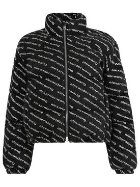 Logo print puffer jacket, aged grey