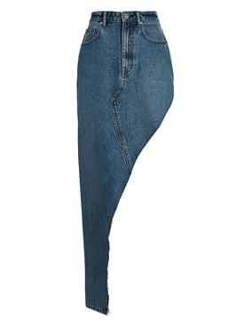 Asymmetric Denim Maxi Skirt