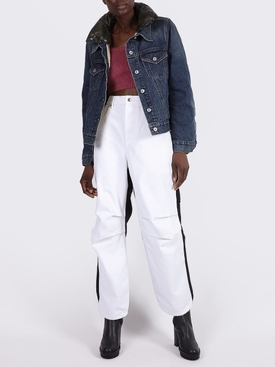 White and black Contrast panel jeans