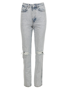 HIGH-WAISTED DIPPED BACK JEANS, PEBBLE BLEACH