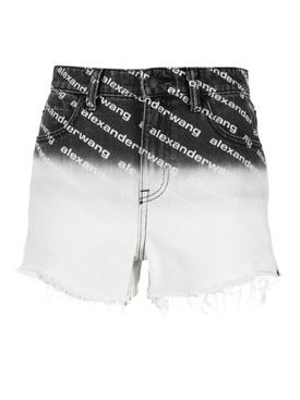 bite ombre logo denim shorts, grey aged