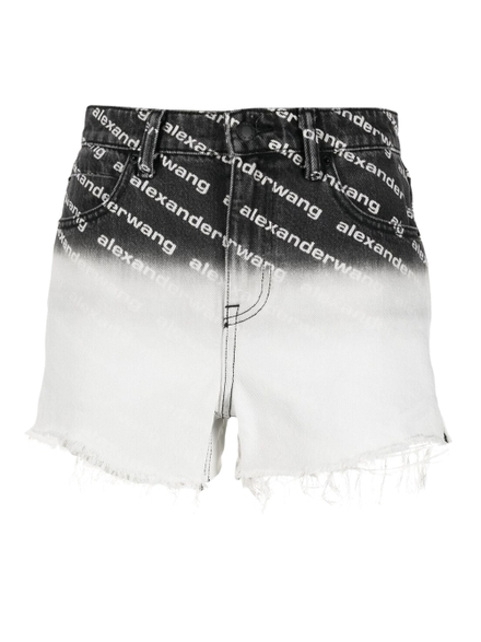 Alexander Wang Bite Ombre Logo Denim Shorts, Grey Aged