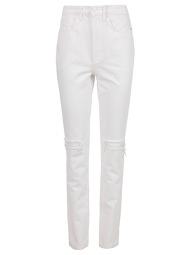 High-waisted Dipped Back Jeans, White