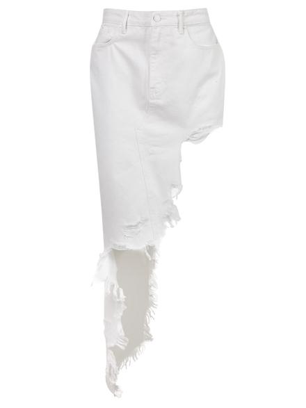 Alexander Wang Frayed Asymmetric Denim Skirt, Optic White