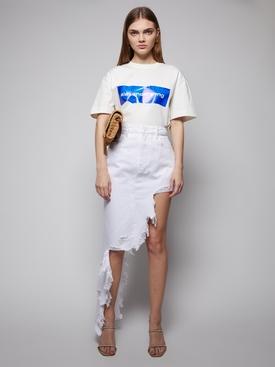 Frayed asymmetric denim skirt, optic white